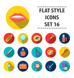make up set icons in black style big collection vector image
