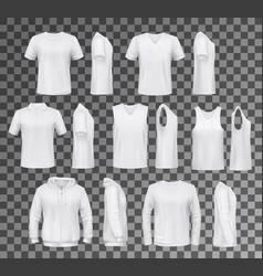 Male clothes isolated tops shirts and hoodie vector