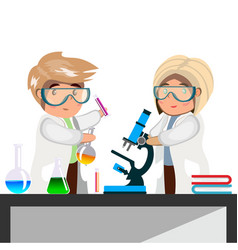 man and woman chemist with test tubes and flasks vector image