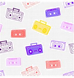memphis pattern cassettes vector image