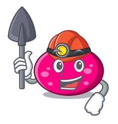 Miner ellipse mascot cartoon style vector