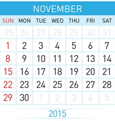 Monthly calendar vector image vector image