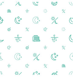 moon icons pattern seamless white background vector image