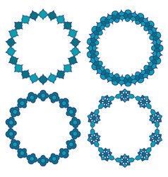 moroccan blue circle frames vector image