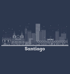 Outline santiago chile city skyline with white vector