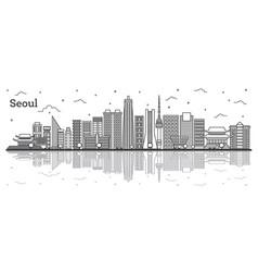 Outline seoul south korea city skyline with vector