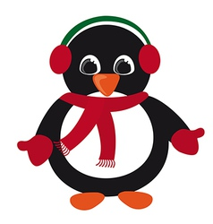 Penguin christmas isolated over white background vector