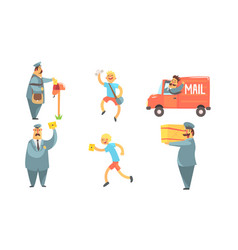 postmen delivering letters set funny deliverymen vector image