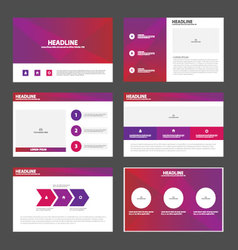 Purple pink presentation templates Infographic set vector