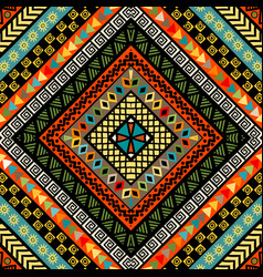 rhomboid colorful background with ethnic motifs vector image