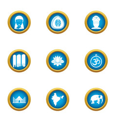 Riding east icons set flat style vector