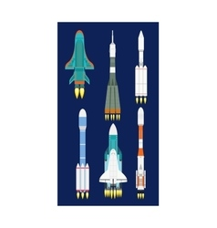 Rocket set isolated vector