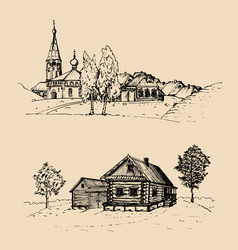 rural landscape set hand vector image