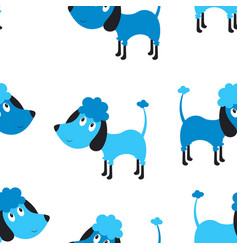 seamless blue dog pattern vector image