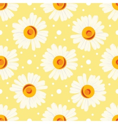 Seamless pattern with chamomiles and dots on vector image