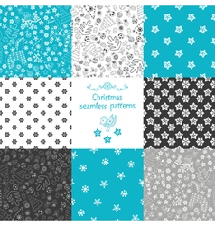 Set of eight Christmas seamless patterns vector