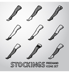 Set of handdrawn STOCKINGS icons with different vector image
