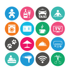 set of hotel services and apartment icons vector image