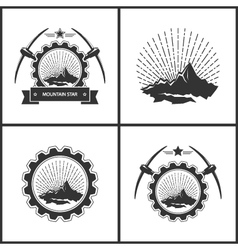 Set of Vintage Emblem of the Mining Industry vector image