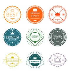 set premium quality labels and badges vector image