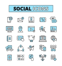 Social Media Line Icons Set vector