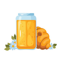 Still life with honey concept honeycomb glass vector