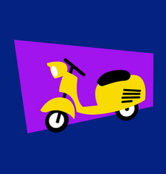 stylized drawing a cute yellow scooter vector image
