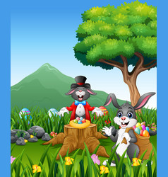 the rabbit plays magic on the tree stump vector image