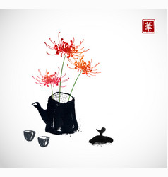 three chrysanthemum flowers in old teapot vector image