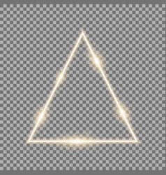 triangle with lights and sparkles golden color vector image