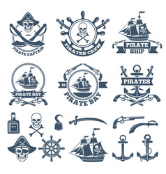 Vintage nautical and pirates labels monochrome vector