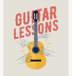 Vintage styled guitar lessons poster vector