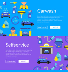 Web banners with car wash flat vector