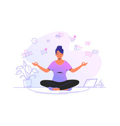 Working and meditating at home cute woman sitting vector