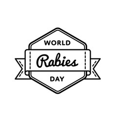 world rabies day greeting emblem vector image