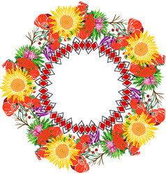 Wreath of sunflower and red flowering poppies vector