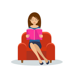 young woman reads sitting in a chair vector image
