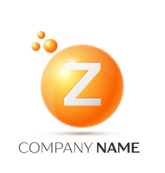 z letter splash orange dots and circle bubble vector image