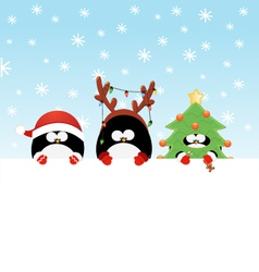 Costumed penguins with paper vector