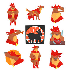 dog superhero character in action set dog in vector image vector image