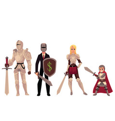 modern and medieval armored knight characters vector image