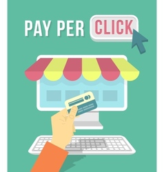 Online Shopping by Computer vector image vector image
