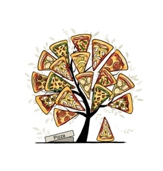 Pizza tree sketch for your design vector image