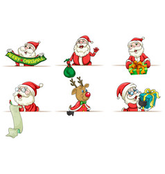 santa and reindeer in different actions vector image