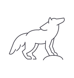 wolf line icon sign on vector image