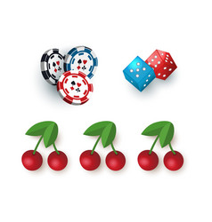 casino symbols - jackpot cherry dices and tokens vector image vector image