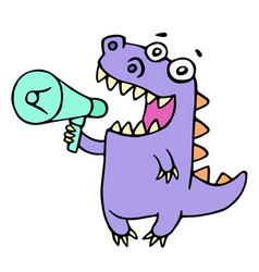 happy purple dragon shouting in loudspeaker vector image