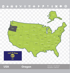 Oregon flag and map vector