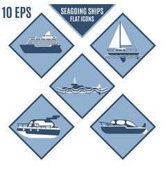rhomboid flat icons of marine ships in lilac color vector image