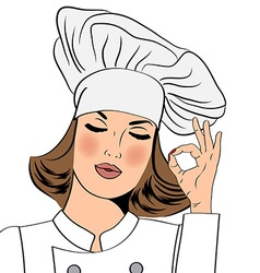 Sexy chef woman in uniform gesturing ok sign with vector image